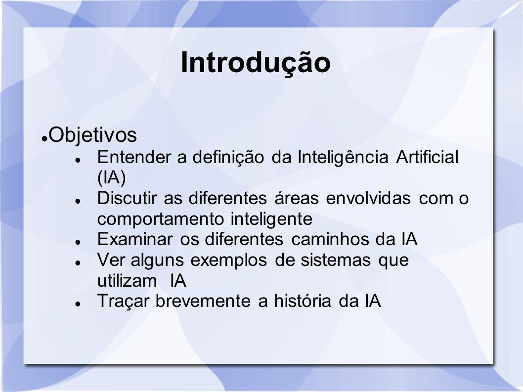 Introdução Objetivos. Entender a definição da Inteligência Artificial (IA) Discutir as diferentes áreas envolvidas com o comportamento inteligente.
