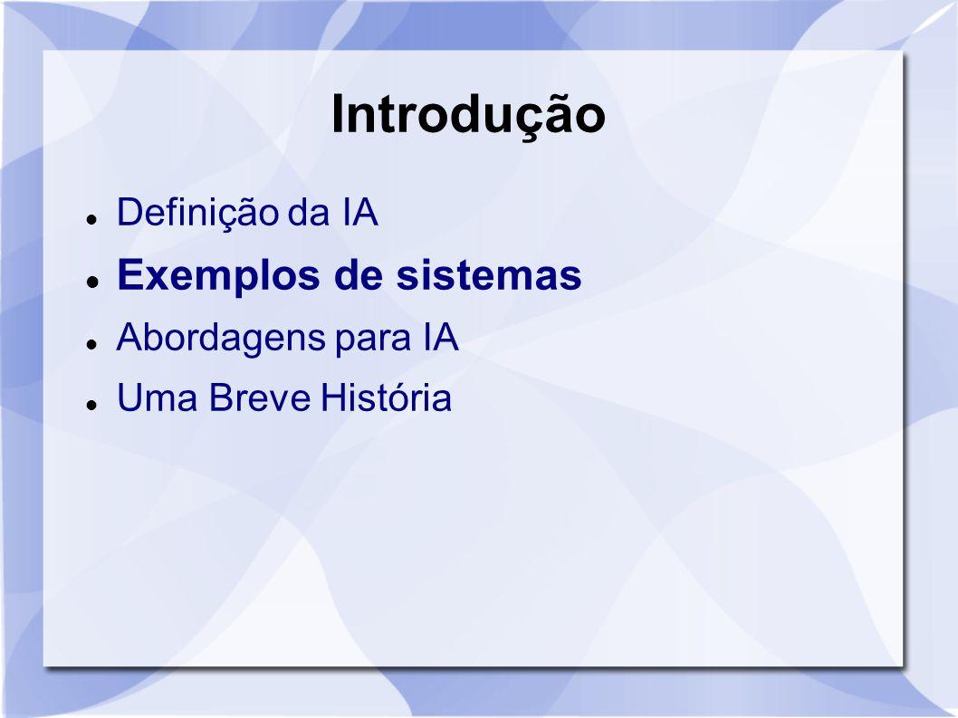 Introdução Exemplos de sistemas Definição da IA Abordagens para IA