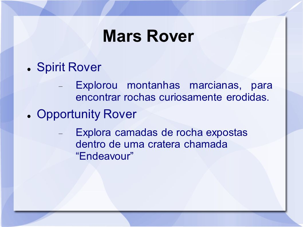 Mars Rover Spirit Rover Opportunity Rover