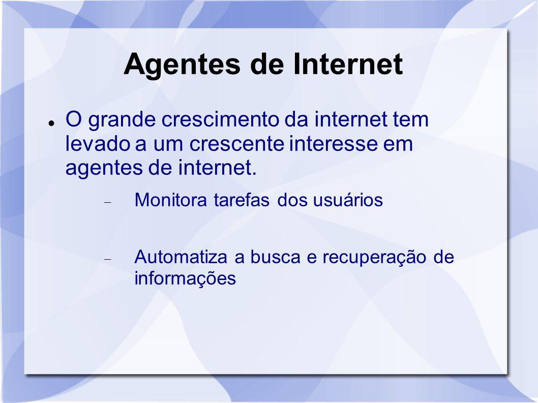Agentes de Internet O grande crescimento da internet tem levado a um crescente interesse em agentes de internet.