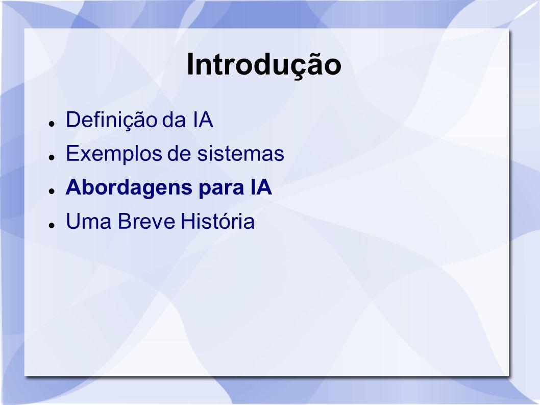 Introdução Definição da IA Exemplos de sistemas Abordagens para IA
