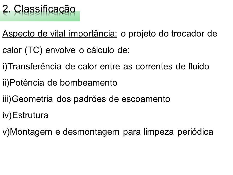 2. Classificação Aspecto de vital importância: o projeto do trocador de calor (TC) envolve o cálculo de: