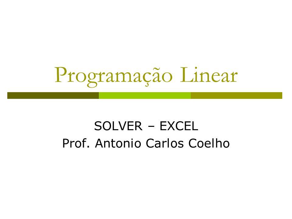 SOLVER – EXCEL Prof. Antonio Carlos Coelho