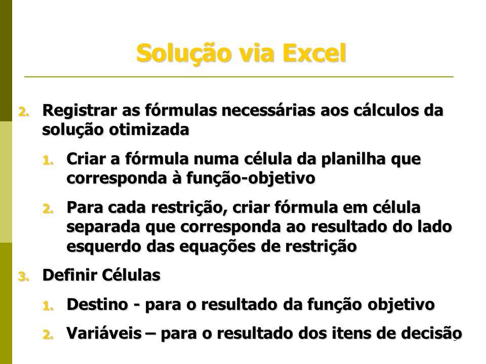 Solução via Excel Registrar as fórmulas necessárias aos cálculos da solução otimizada.
