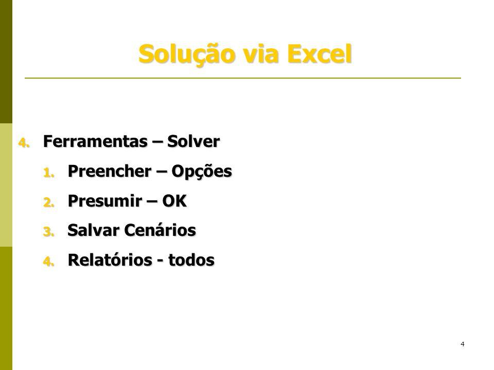 Solução via Excel Ferramentas – Solver Preencher – Opções