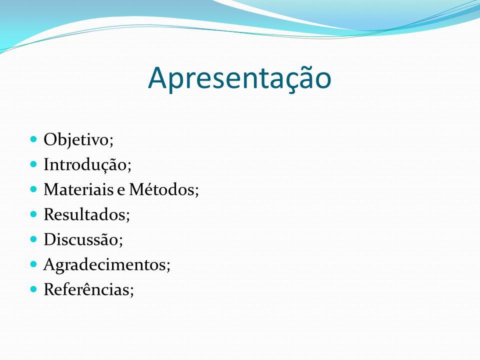 Apresentação Objetivo; Introdução; Materiais e Métodos; Resultados;