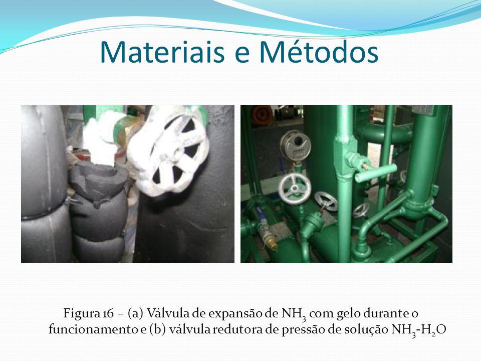 Materiais e Métodos Figura 16 – (a) Válvula de expansão de NH3 com gelo durante o funcionamento e (b) válvula redutora de pressão de solução NH3-H2O.