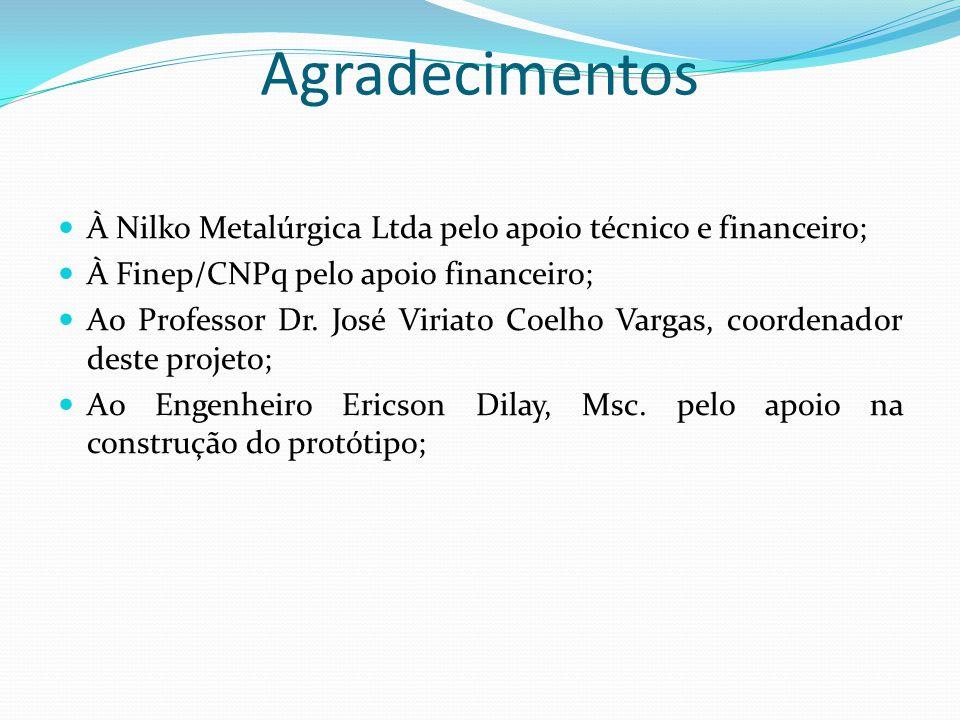 Agradecimentos À Nilko Metalúrgica Ltda pelo apoio técnico e financeiro; À Finep/CNPq pelo apoio financeiro;