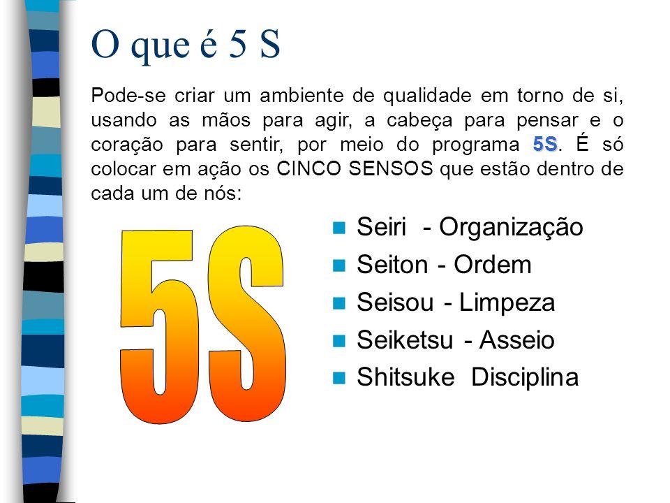 5S O que é 5 S Seiri - Organização Seiton - Ordem Seisou - Limpeza