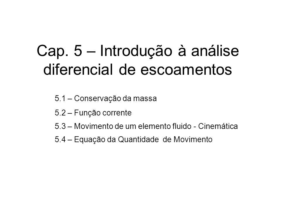Cap. 5 – Introdução à análise diferencial de escoamentos