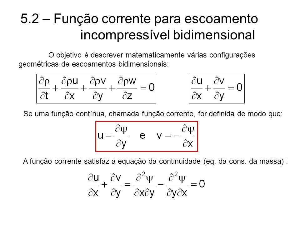 5.2 – Função corrente para escoamento incompressível bidimensional