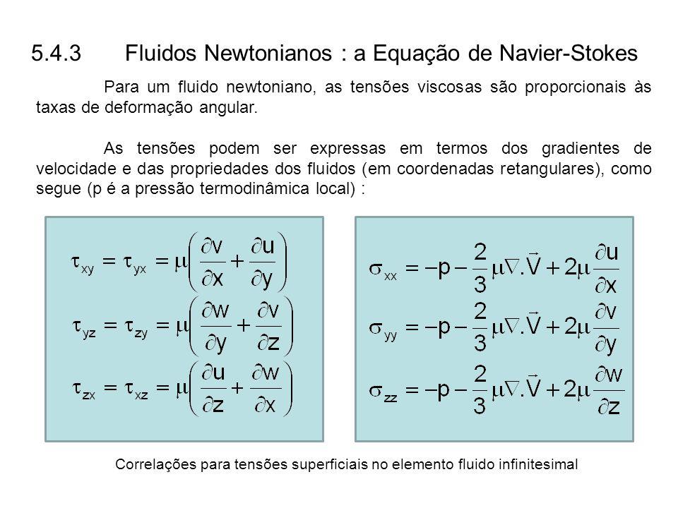 Correlações para tensões superficiais no elemento fluido infinitesimal