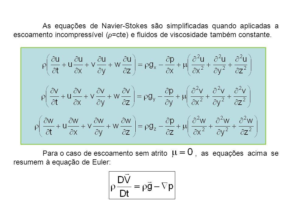 As equações de Navier-Stokes são simplificadas quando aplicadas a escoamento incompressível (r=cte) e fluidos de viscosidade também constante.