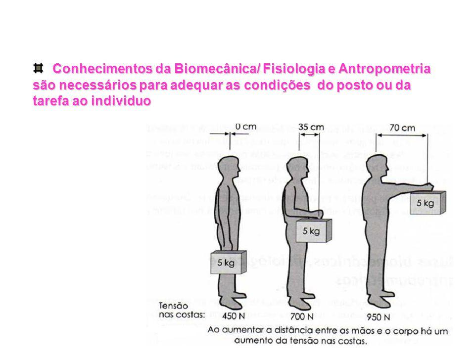 Conhecimentos da Biomecânica/ Fisiologia e Antropometria são necessários para adequar as condições do posto ou da tarefa ao individuo