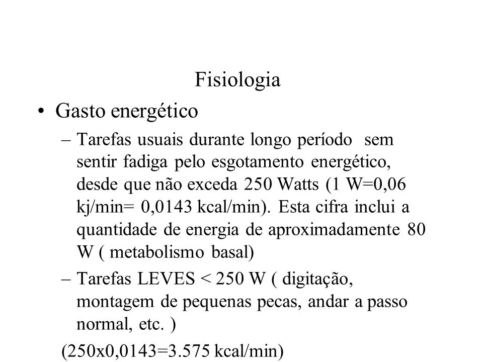 Fisiologia Gasto energético