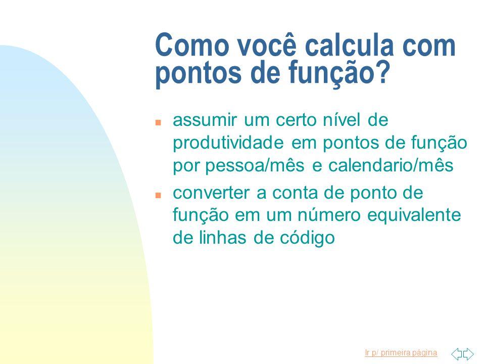 Como você calcula com pontos de função