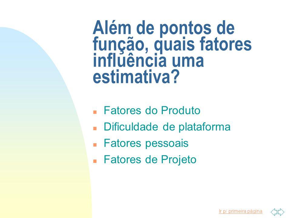 Além de pontos de função, quais fatores influência uma estimativa
