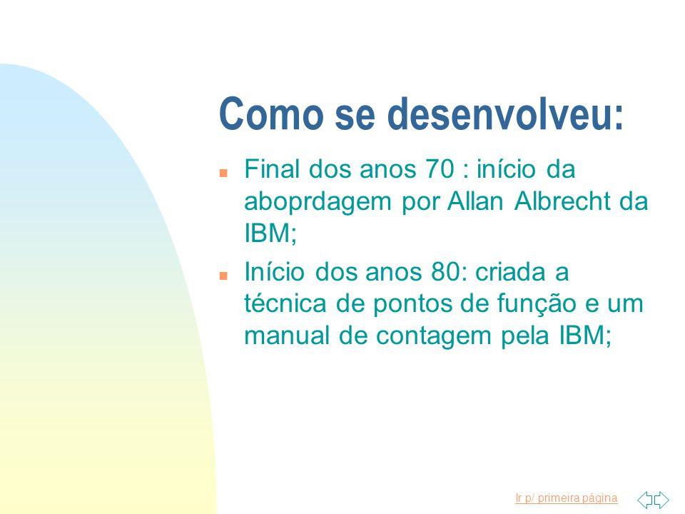 Como se desenvolveu: Final dos anos 70 : início da aboprdagem por Allan Albrecht da IBM;