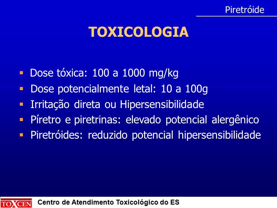TOXICOLOGIA Dose tóxica: 100 a 1000 mg/kg