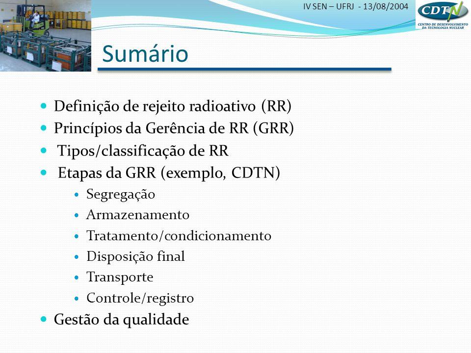 Sumário Definição de rejeito radioativo (RR)