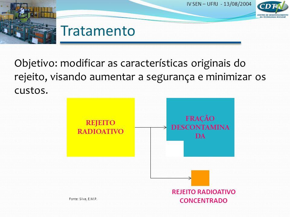 Tratamento Objetivo: modificar as características originais do rejeito, visando aumentar a segurança e minimizar os custos.