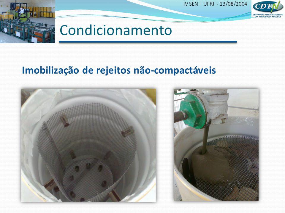 Condicionamento Imobilização de rejeitos não-compactáveis