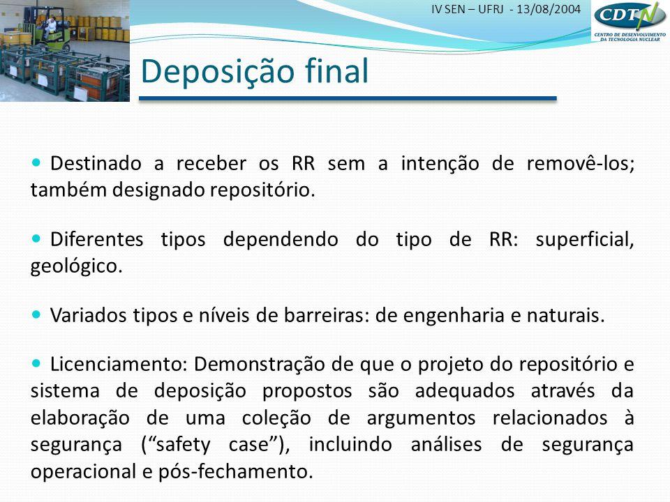 Deposição final Destinado a receber os RR sem a intenção de removê-los; também designado repositório.