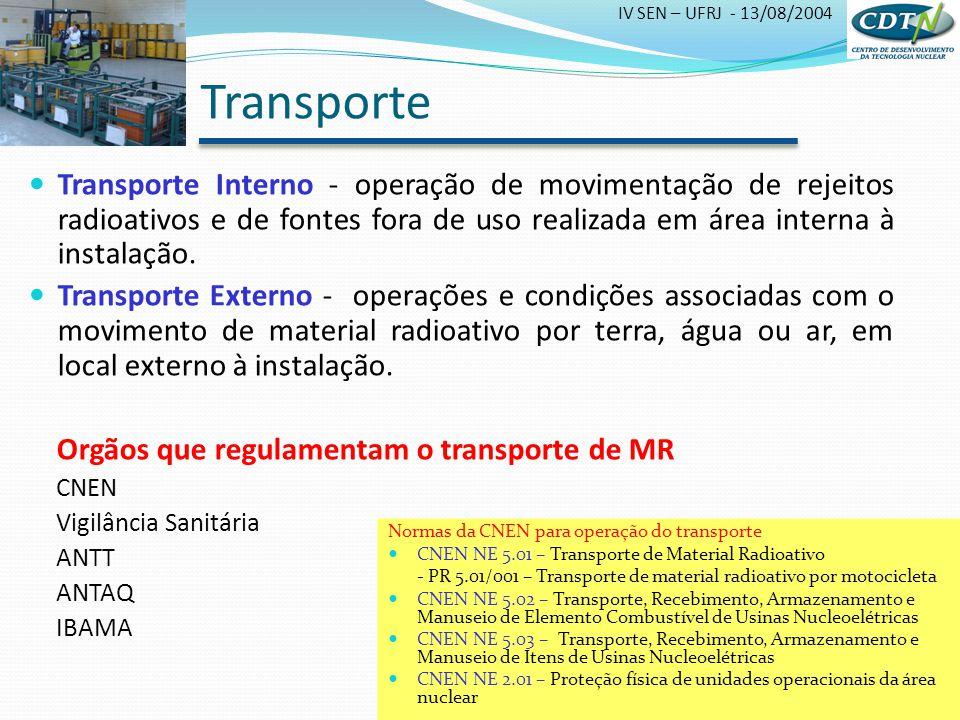 Transporte Transporte Interno - operação de movimentação de rejeitos radioativos e de fontes fora de uso realizada em área interna à instalação.