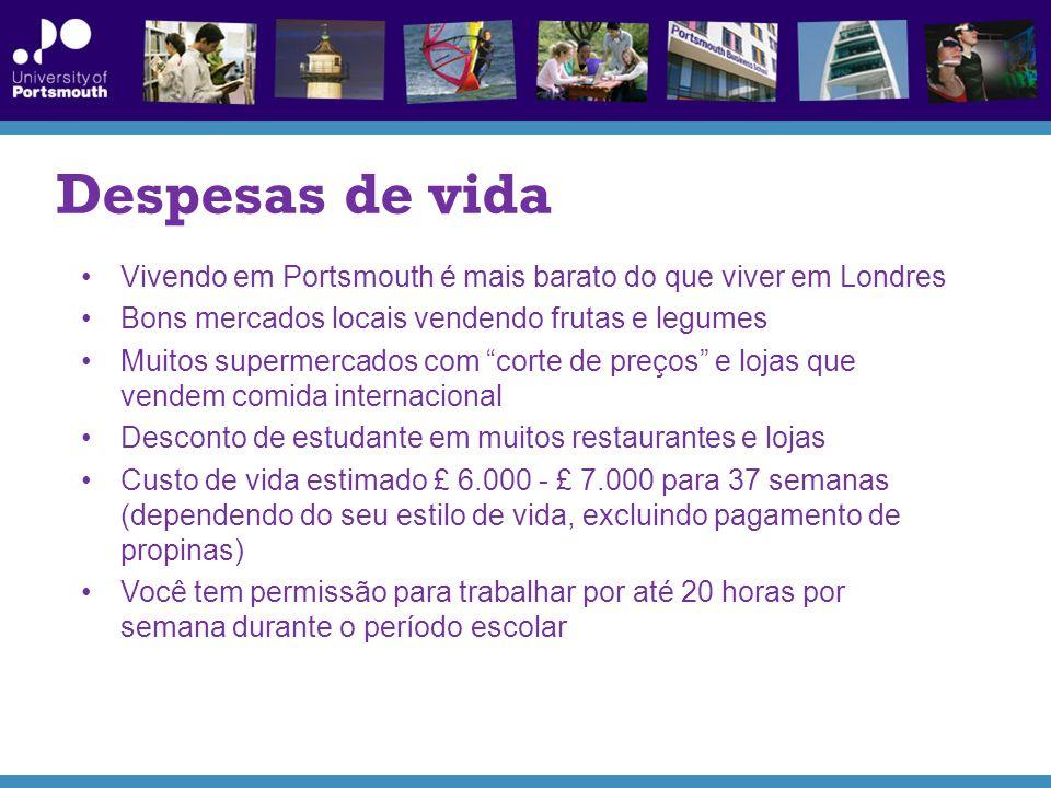 Despesas de vida Vivendo em Portsmouth é mais barato do que viver em Londres. Bons mercados locais vendendo frutas e legumes.