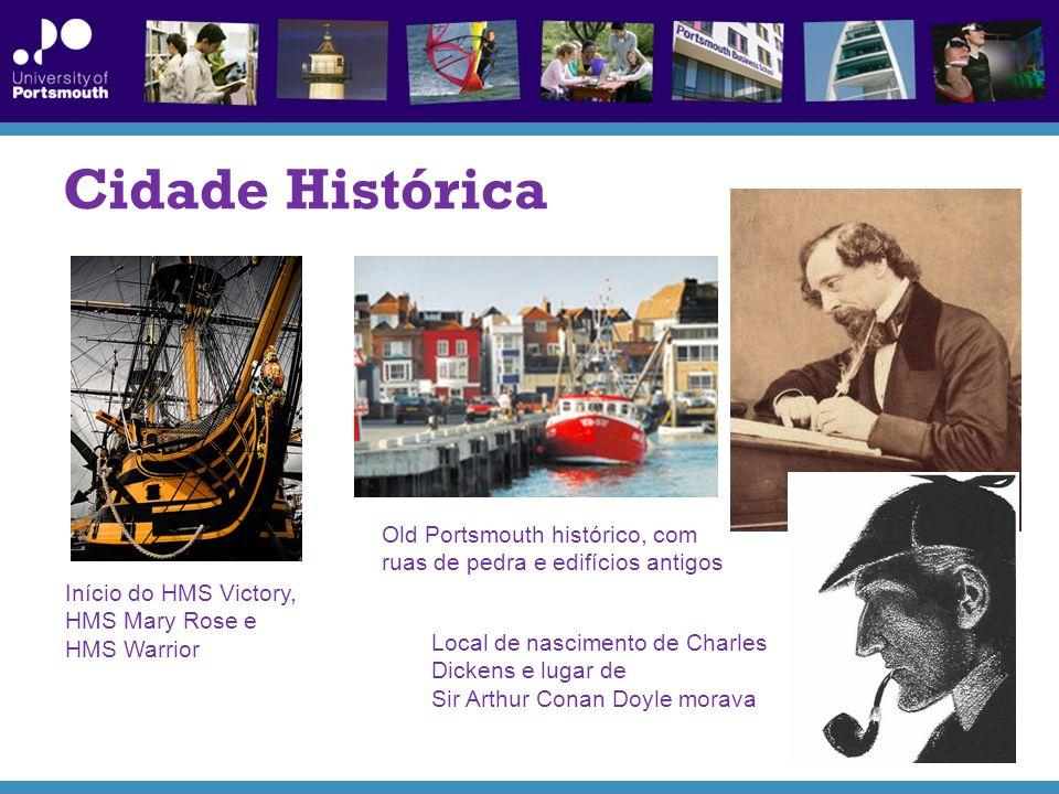 Cidade Histórica Old Portsmouth histórico, com ruas de pedra e edifícios antigos. Início do HMS Victory,