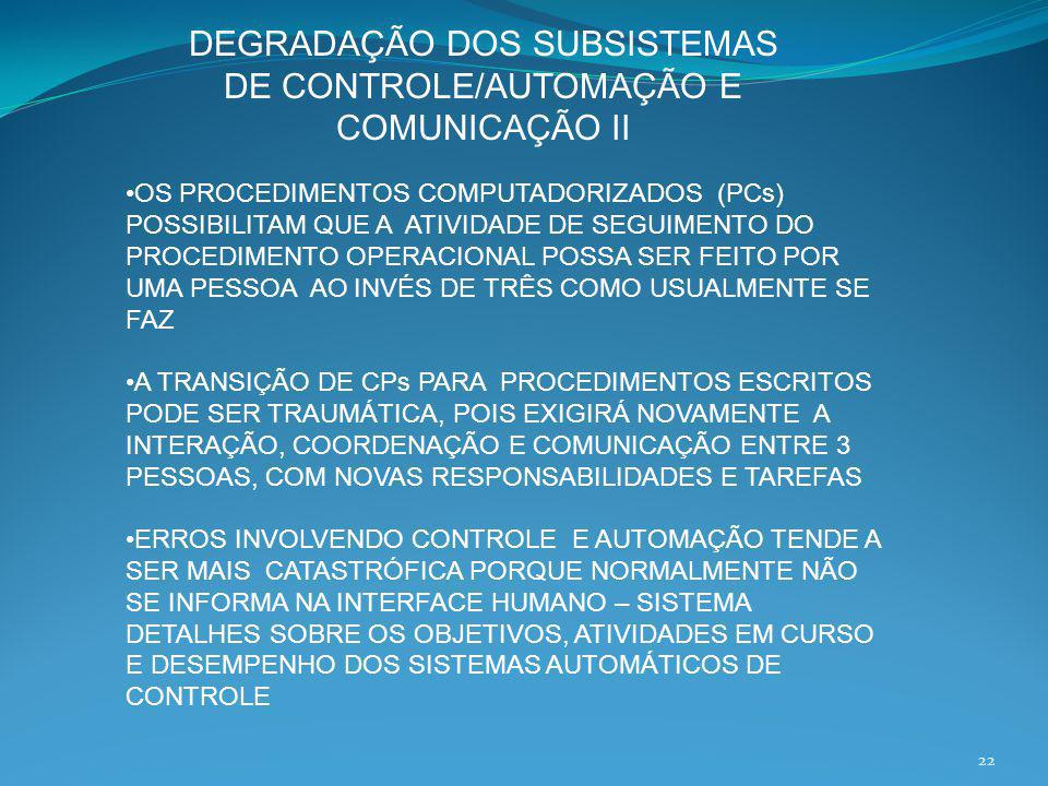 DEGRADAÇÃO DOS SUBSISTEMAS DE CONTROLE/AUTOMAÇÃO E COMUNICAÇÃO II
