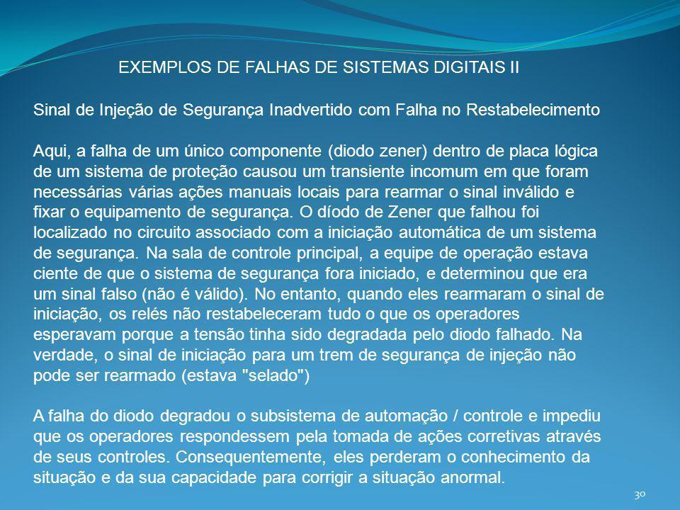 EXEMPLOS DE FALHAS DE SISTEMAS DIGITAIS II
