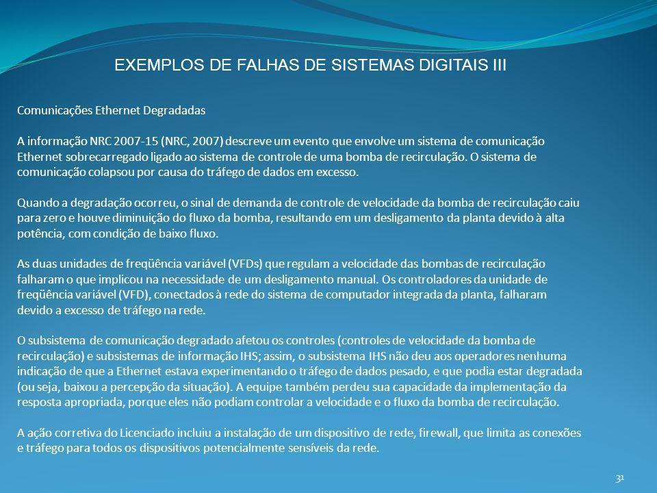 EXEMPLOS DE FALHAS DE SISTEMAS DIGITAIS III