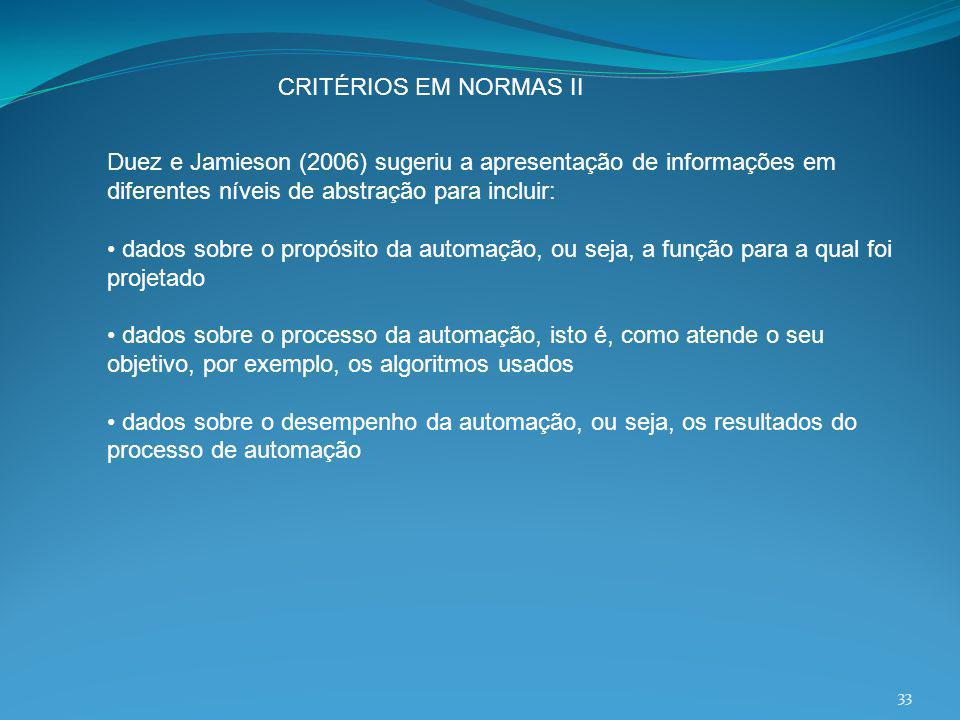 CRITÉRIOS EM NORMAS II Duez e Jamieson (2006) sugeriu a apresentação de informações em diferentes níveis de abstração para incluir: