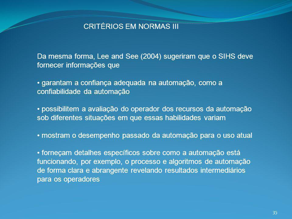 CRITÉRIOS EM NORMAS III