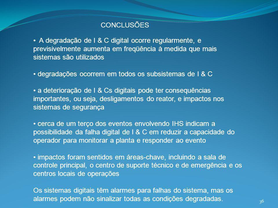 CONCLUSÕES • A degradação de I & C digital ocorre regularmente, e previsivelmente aumenta em freqüência à medida que mais sistemas são utilizados.