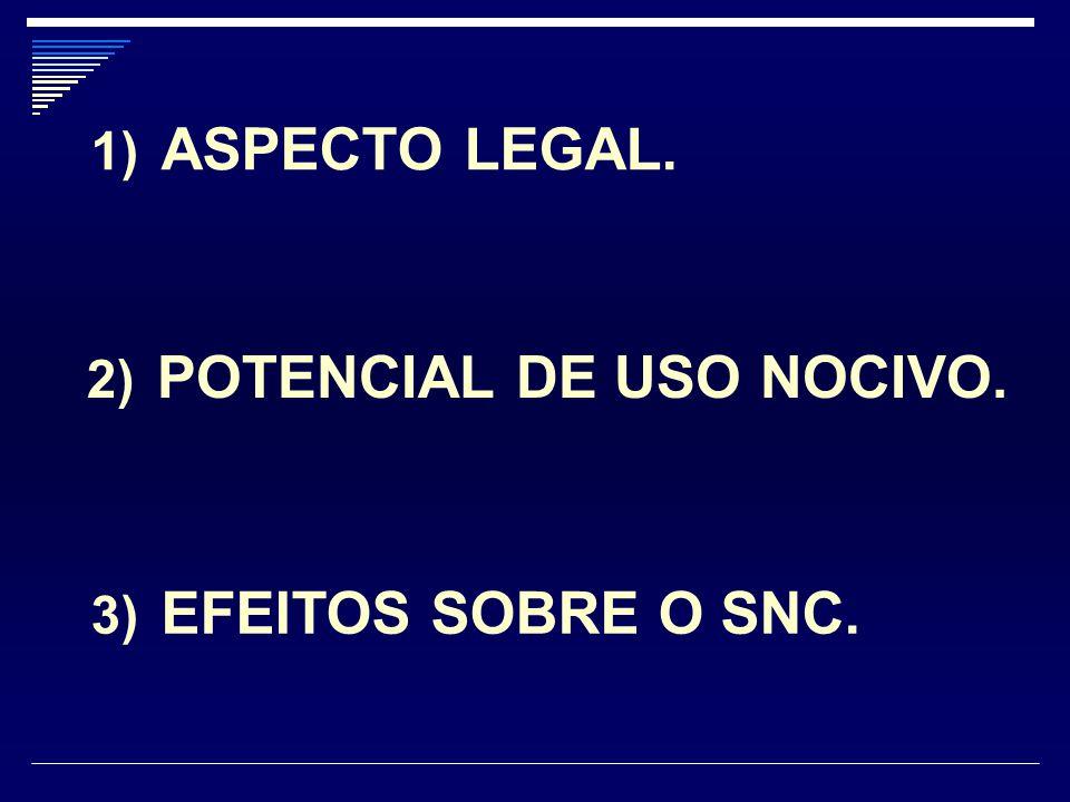 ASPECTO LEGAL. POTENCIAL DE USO NOCIVO. EFEITOS SOBRE O SNC.