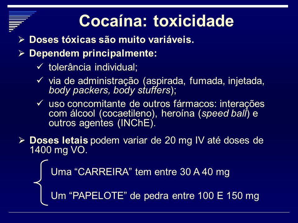 Cocaína: toxicidade Doses tóxicas são muito variáveis.