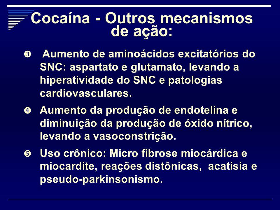 Cocaína - Outros mecanismos de ação: