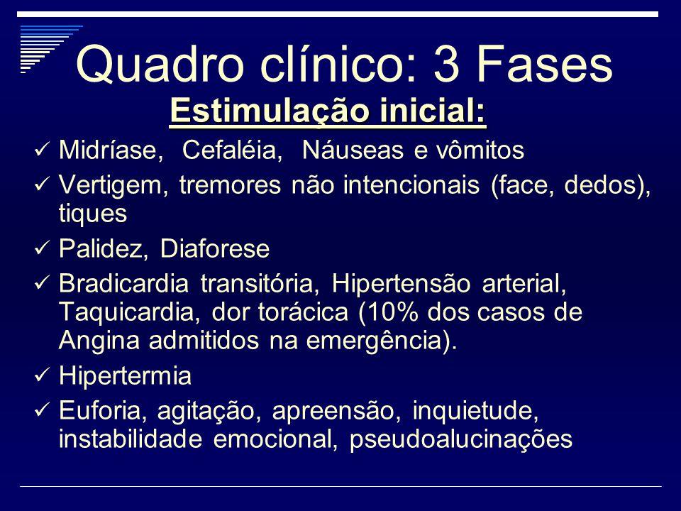 Quadro clínico: 3 Fases Estimulação inicial:
