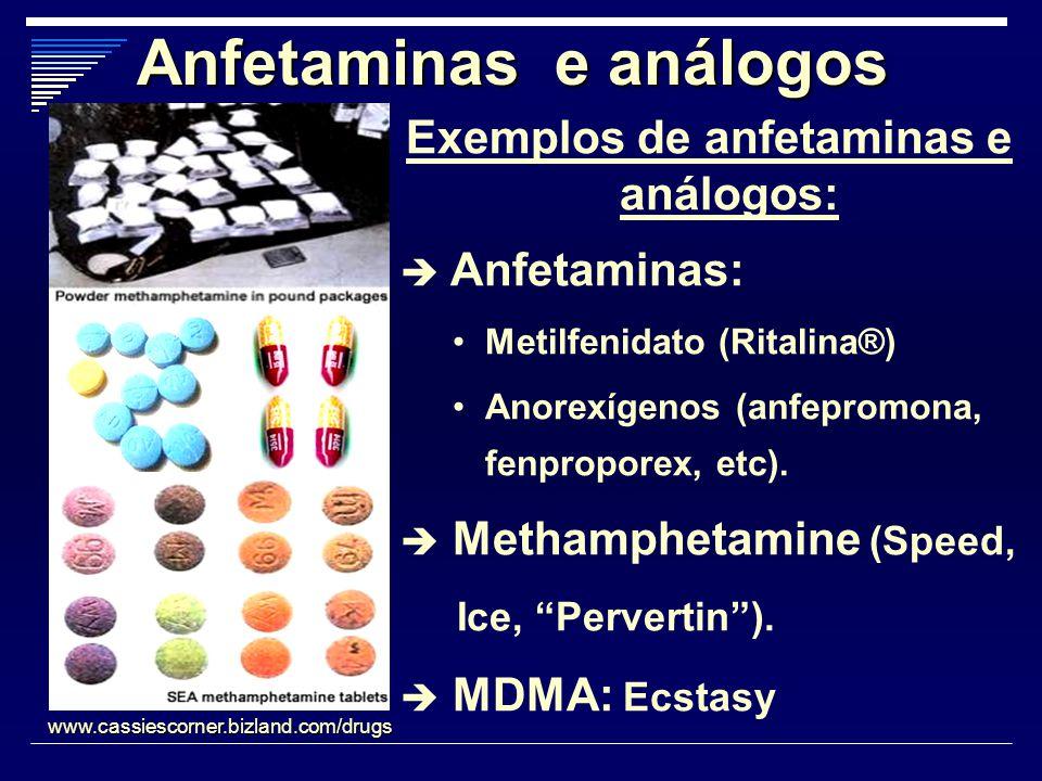 Anfetaminas e análogos Exemplos de anfetaminas e análogos: