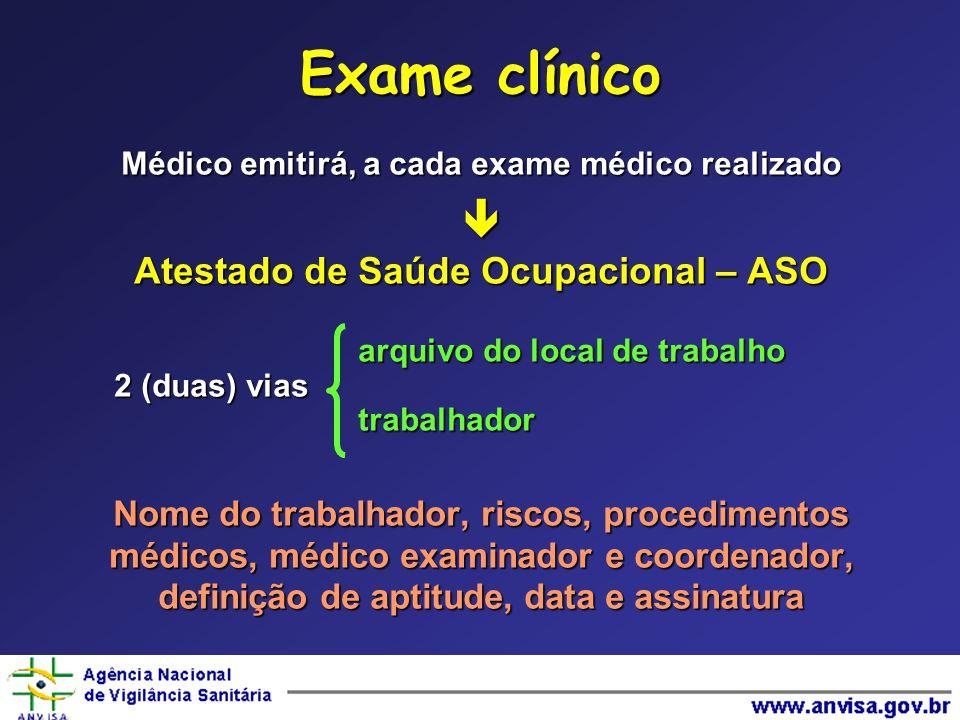 Exame clínico  Atestado de Saúde Ocupacional – ASO