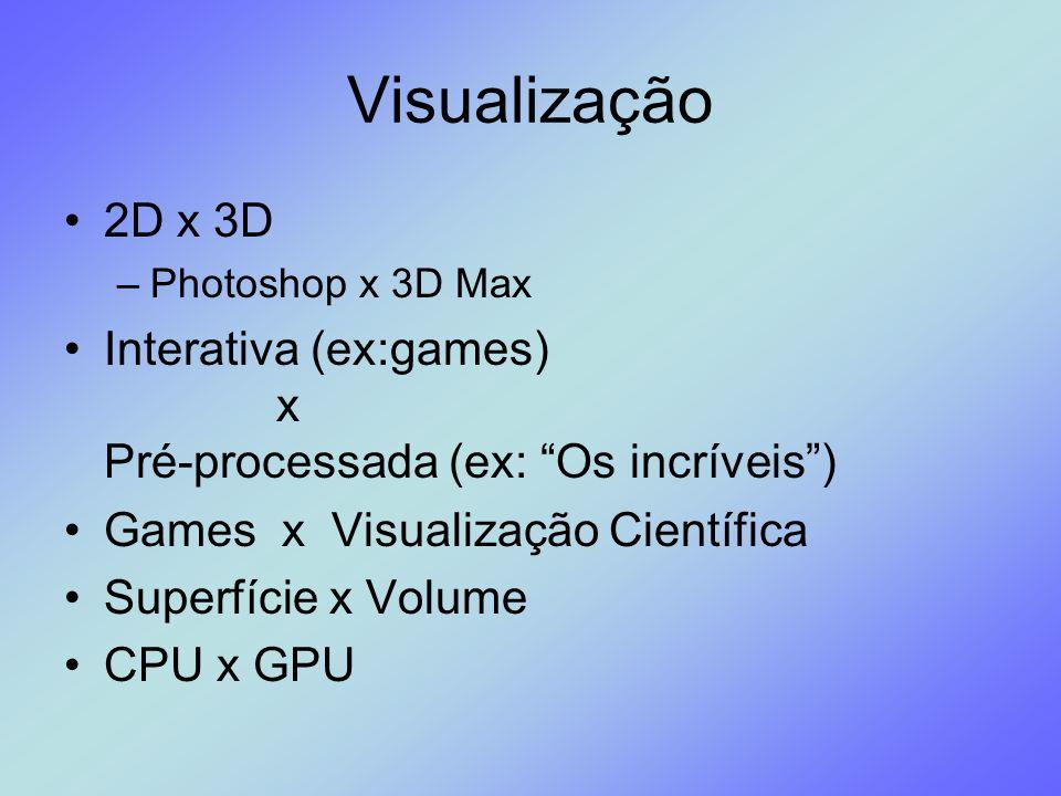 Visualização 2D x 3D. Photoshop x 3D Max. Interativa (ex:games) x Pré-processada (ex: Os incríveis )