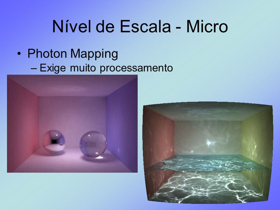 Nível de Escala - Micro Photon Mapping Exige muito processamento