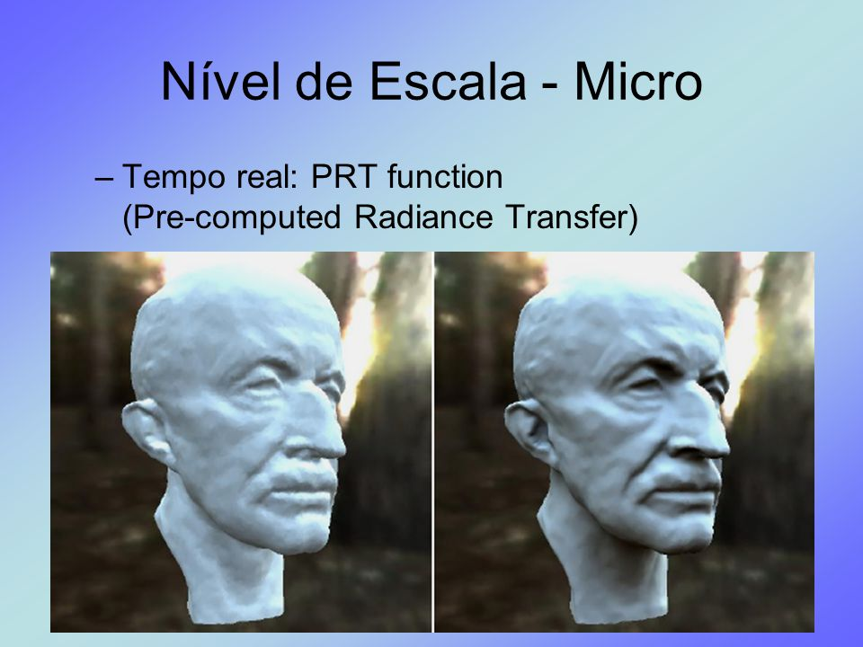 Nível de Escala - Micro Tempo real: PRT function (Pre-computed Radiance Transfer)