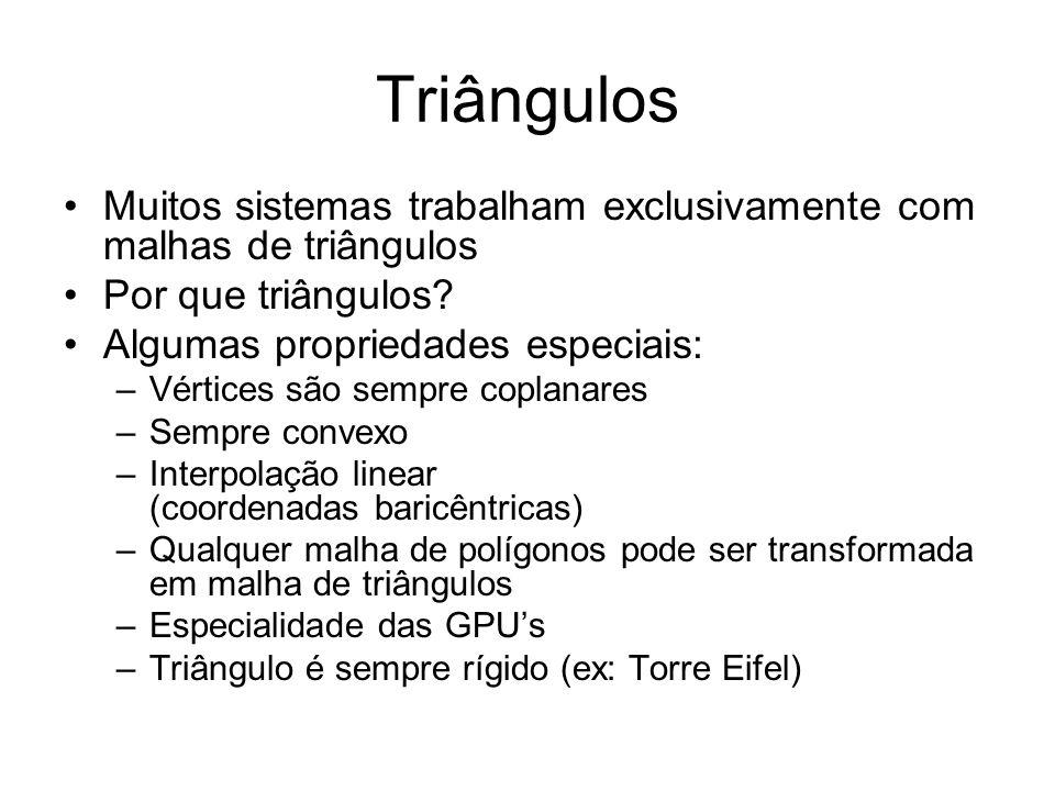 Triângulos Muitos sistemas trabalham exclusivamente com malhas de triângulos. Por que triângulos Algumas propriedades especiais: