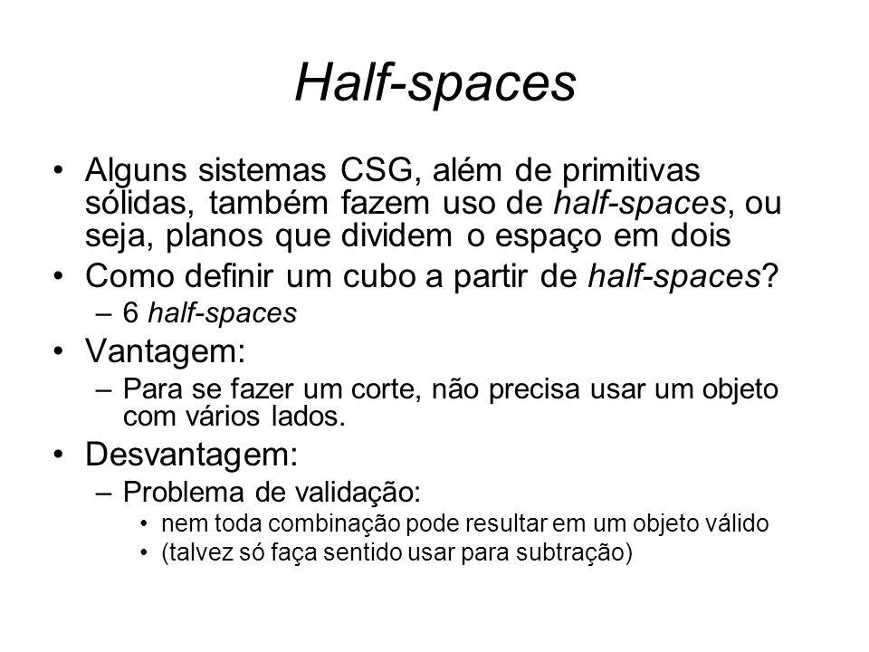 Half-spaces Alguns sistemas CSG, além de primitivas sólidas, também fazem uso de half-spaces, ou seja, planos que dividem o espaço em dois.