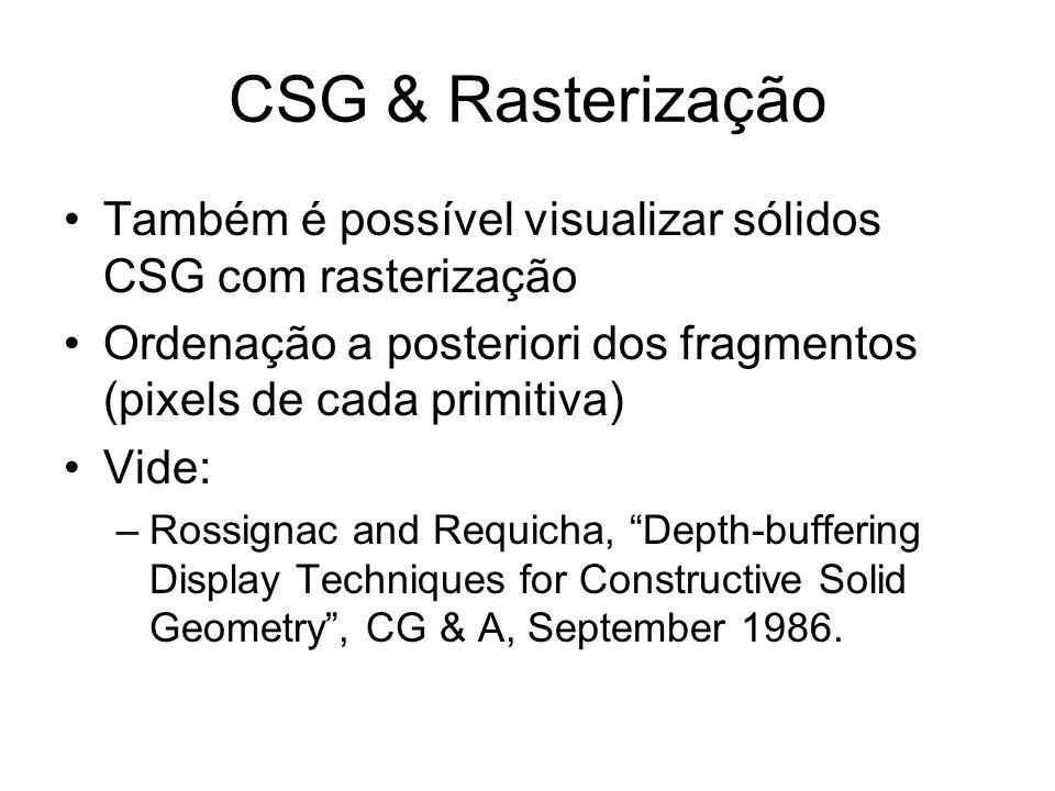 CSG & Rasterização Também é possível visualizar sólidos CSG com rasterização. Ordenação a posteriori dos fragmentos (pixels de cada primitiva)