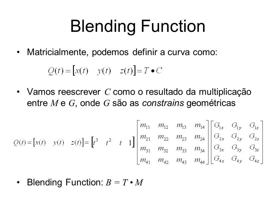 Blending Function Matricialmente, podemos definir a curva como: