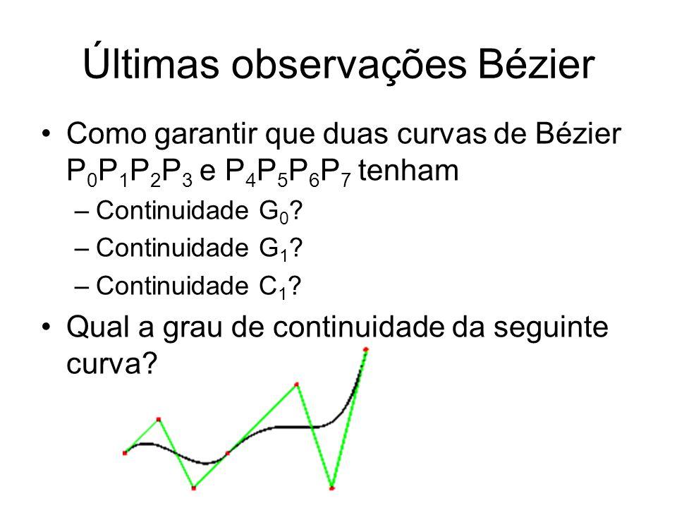 Últimas observações Bézier